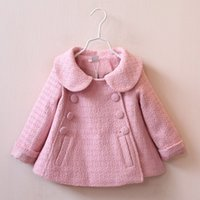 Wholesale Hot cm height Girls new fall coat Double breasted woolen jacket Children s pink princess coat