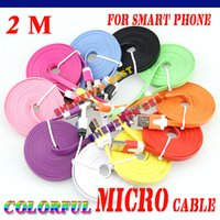 Wholesale 50pcs New M Colorful noodles Flat V8 micro usb to usb data charger cable for Samsung Galaxy S4 S IV i9500 S3 i9300 N7100