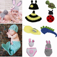Cheap Soft Baby Beanie Sets Photography Props Children's Crochet Cotton Infant Costume Outfits More Styles Optional DEG*1