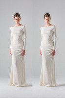 Wholesale Ivory Simple Satin Sheath Informal Recepiton Wedding Dresses With Long Sleeves Bateau Neck Ruched Modest Bridal Gowns With Train