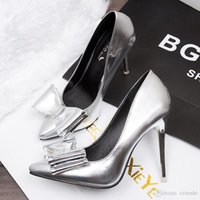 Cheap Fashion Gold or Silver bowtie pointed toes pumps stiletto high