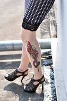 animal print tattoos for women - Fashion sexy Evil Sword Inspired Tattoo Print stockings With Lace meias knee socks LC7773 Thigh High Socks for Women