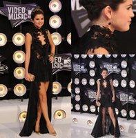 award prom dresses - Selena Gomez Mtv Video Music Awards Black Lace Dress Celebrity Dresses high Neck Hi Lo Chiffon Evening Gown Prom Party Dress