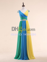 Wholesale Unique Multi colored Chiffon Long Prom Dresses with V neck Beading Waist Custom Made Dropshipping