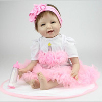 reborn baby doll - 22 Inches CM Lovely Silicone Reborn Baby Dolls Realistic Hobbies Handmade Baby Alive Doll For Girls Safe Training Toys Gifts
