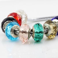 Wholesale DIY Jewelry ALE Stamped Murano Glass Beads MM Big Hole European Glass Charm Bead For Bracelets