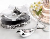 baby bottle favours - 100 x Love Dove Chrome Bottle Opener Baby Shower Wedding Favour Bomboniere Party Gift free shiping