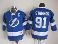 bay linens - 2014 Youth Tampa Bay Lightning Jerseys Ice Hockey Steven Stamkos Jersey Children Team Color Blue Stitching Hot Sale Kids