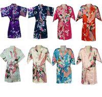 Wholesale Children nightwear colors New classical flowerJapanese Silk Kimono Robe Pajamas Nightdress Sleepwear for kids girls