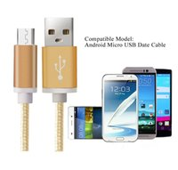 Wholesale Luxury M Aluminum Metal Braided Micro USB Data Cable with Plastic Pack For Samsung S3 S4 S6 S7 Note