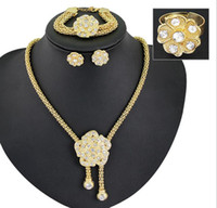 Wholesale hot Wedding African beads jewelry sets Chunky K gold plated Crystal big flower necklace bracelet ring earring set for bridal top quality