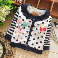 baby doll cardigan - Baby Girls Polka Dot Cardigan Striped Sleeves Cotton Cartoon Doll Collar Tops Outweat Jacket Coat KT209B