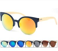 wholesale designer lots - 2015 New Hot Sell Wood Sunglasses Designer Natrual Bamboo Sunglass Eyewear Glasses Style Hand Made Wooden Plastic Frame DHL free