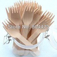 Wholesale 500pcs Eco Friendly Disposable Wooden Fork Heavy Weight Pack cm Flatware cutlery birch wood dessert