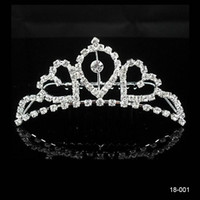 Wholesale 2015 Bridal Hair Jewelry Wedding Bridal Rhinestone Crown Princess Prom Cocktail Girl Tiara Accessories New Without Tags Silver Plated