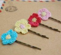 Cheap Girls Colorful Crochet Flower Hair Pins 7 Options Vintage Brass Hair Barrettes Hair Clips fq023