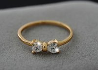 Wholesale Fashion Hot Austria Crystal CZ Diamond rings Gold Plated finger Bow ring wedding engagement Zircon Crystal Rings women jewelry
