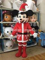 Padre Chrismas Mickey mouse Minne ratón Negro Ratón Pascua mascota del Costo del vestido de lujo del traje de Halloween fiesta de disfraces de Carnaval Disfraz de Navidad