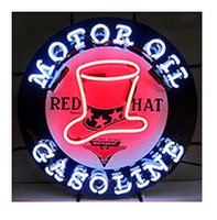 Wholesale Motor Oil Red Hat Gasoline Neon Sign Gas Station Oil Store Custom Handmade Real Glass Tube Display Neon Signs Without Base quot X24 quot