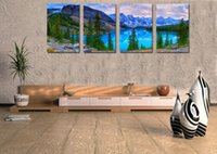 alpine home - Home Decor HD Print Landscape art painting on canvas No stretch Alpine lake blue sky PC