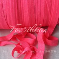 glitter ribbon - quot solid glitter printed fold over elastic ribbon neon pink for hair accessories yards roll