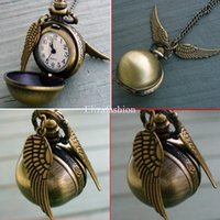 potter - Harry Potter Golden Snitch Necklace Pocket Watch Harry Potter Wings Necklace Watch Necklace Ball Quartz Pocket Watch Colors
