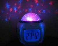 Wholesale 100pcs Magic Projection LED Sky Star Master Night Light Projector Lamp Bed Lazy Digital Alarm Clock Calendar Creative Mini Children s Gifts