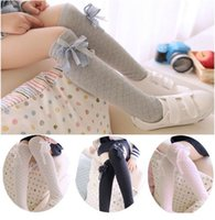 Wholesale 2015 New Arrival Spring Autumn Children Girls Pure Cotton Grid Splicing Socks Knee High Socks Pairs