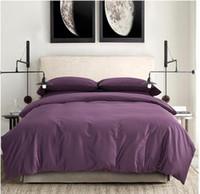 al por mayor púrpura colcha reina-Sábanas de algodón egipcio 100% ropa de cama de color morado oscuro ropa de cama tamaño king reina edredón edredón cubierta sábanas cama en un saco cubrecamas de lujo 2015
