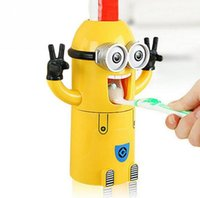 automatic cup dispenser - New Cute Despicable Me Minions Design Set Cartoon Toothbrush Holder Automatic Toothpaste Dispenser with Brush Cup gift DHL Free