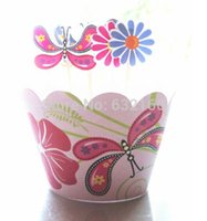 cupcake toppers - butterfly flower cupcake wrappers decoration birthday party favors for kids Micky cup cake toppers picks supplies