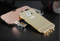Wholesale for Samsung GALAXY S3 S4 S5 S6 S6 EDGE S7 S7 EDGE J2 PRIME J5 PRIME Mirror Luxury Metal Aluminum Bumper Frame PC Back Cover