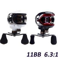 Cheap Hot Sale! LMA200 10+1BB Ball Bearings Left Hand Baitcasting Sea Carp Fishing Reel 6.3:1 Lures Tackle 203g White Red