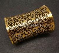 al por mayor esmalte antigua pulsera de oro-Antiguo oro suave esmalte flor Vintage brazalete brazalete pulsera ajustable para mujer 10cm Super Wide