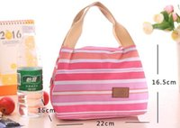 Wholesale Thermal Insulated Portable Cool Canvas Stripe Lunch Totes Bag Carry Case Picnic For women use
