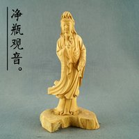 wood carving statue - Habitat homes Yueqing boxwood carvings hand carved wood statue of Guanyin Jingping Dongyang religious ornaments