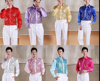 Wholesale royal blue light blue white pink Lavender sequins beading decoration mens tuxedo shirts party wedding shirts