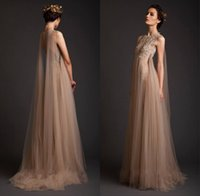 colored buttons - Krikor Jabotian Dubai Evening Dresses High Neck Appliqued Embroidery Sheer Button Full length Champagne Colored Evening Dresses HDY