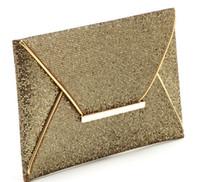 Wholesale 1pcs woman fashion Glittered Gold Color Envelope Clutch Party Bag Evening Purse pu cover Handbag cm