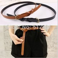 Wholesale Drop shipping Belts For Womens Multi Color Thin Skinny Faux Leather Waistband Ladies Casual Belts Strap