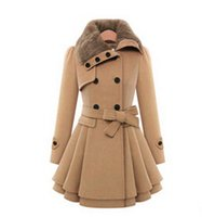 Cheap Women's Fashion Faux Fur Lapel Double-breasted Thick Wool Trench Coat Jacket woolen overcoat