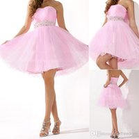 Cheap 2015 New Cheap Under 50 Homecoming Dresses With Sweetheart Beads Backless A Line Short In Stock Modest Pink Prom Party Cocktail Gowns HC017