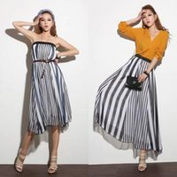 Cheap 2015Casual Womens Long Skirts Irregular Stripes Full Length Maxi Chiffon Dress