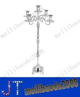 wedding candelabra - Shiny silver plated candelabra enviromental zinc alloy material cm wedding arms candle holder candle stick for party MYY11042A