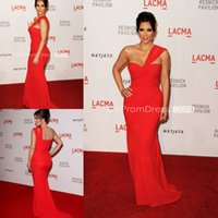 Cheap Plus Size Kim Kardashian Red Carpet Dresses Chiffon One Shoulder Backless Floor-length Mermaid Red Evening Dresses Party Gowns HDY