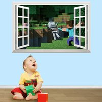 PVC wall decoration wallpaper - Minecraft D Wall Stickers Creeper Decorative Steve Wall Decal Cartoon Wallpaper Kids Party Decoration Festival Wall Art Poster
