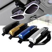 Cheap Wholesale-4 colors S-shaped Sunglasses Eyeglasses frames Car Auto Sun Visor Glasses Sunglasses Card Ticket Holder Pen Clip