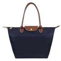 Wholesale New Fashion Hobos Foldable Tote Shopping Bag Joker Solid Shoulder Bags Casual Soft Nylon Women Handbag