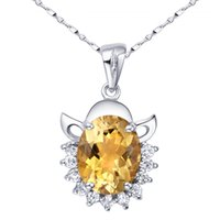 Cheap Flammable volcano 925 Silver Natural Citrine pendant necklace female short paragraph clavicle jewelry SP0080C