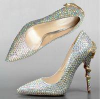 Cheap Pointed Toe High Heels Glitter Rhinestone Nightclub Shoes Stiletto Heel Genuine Leather Bridal Wedding Shoes Silver Prom Shoes